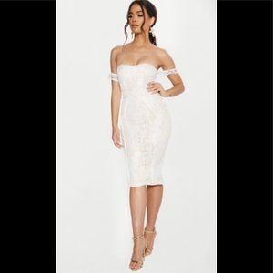 PrettyLittleThing white lace binding midi dress 4